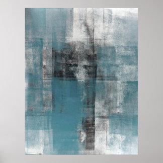 """""""Lässige"""" aquamarine und schwarze abstrakte Poster"""
