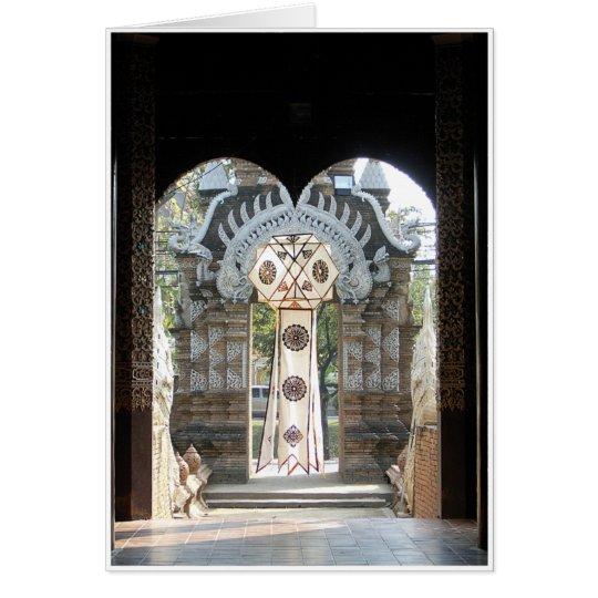 Laterne im Eingang Grußkarte