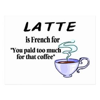 Latte ist für französisch postkarte
