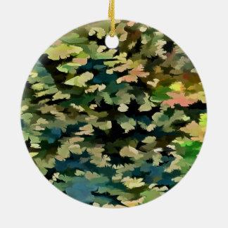 Laub abstrakt im Grün, im Pfirsich und in Phthalo Rundes Keramik Ornament