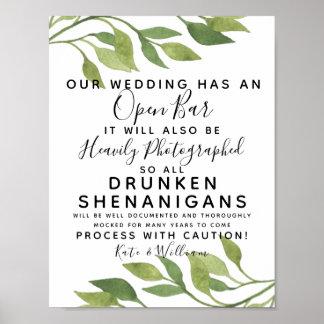Laubgrün offenes Bar, das Zeichen wedding ist Poster