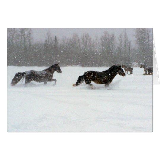 Laufen in den Schnee Grußkarte