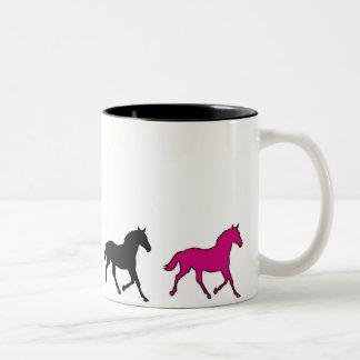Laufende Pferde Zweifarbige Tasse