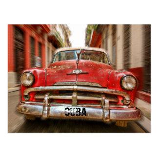 """"""" Laufendes"""" Auto in den Straßen von altem Havana, Postkarte"""