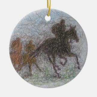 laufendes Pferd Rundes Keramik Ornament
