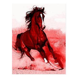 Laufendes PferdBrowny rote Grafik-Postkarte Postkarte