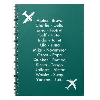 Lautalphabet-Flugzeug-Blue Air-Kadett-Notizbuch Notizblock