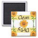 Lave-vaisselle propre ou sale des tournesols 2 magnets pour réfrigérateur