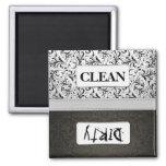 Lave-vaisselle propre/sale de damassé noire et bla aimant