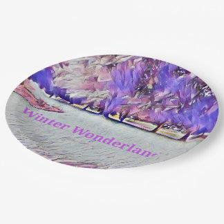 Lavende weißes Winter-Märchenland-künstlerische Pappteller
