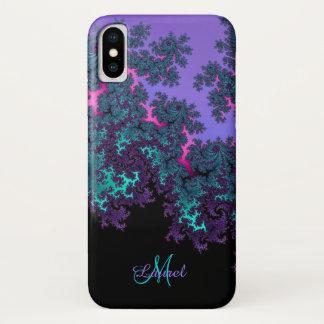 Lavendel-aquamarines Fraktal personalisierter iPhone X Hülle