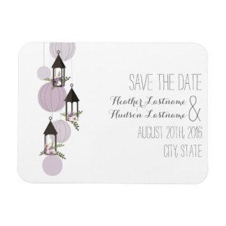 Lavendel-Blumenlaternen Save the Date Flexible Magnete