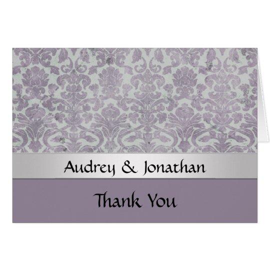 Lavendel-danken silberner Schmutz-Blick-Damast Grußkarte