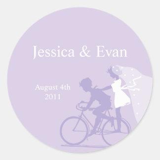 Lavendel-Fahrrad-Paar-Hochzeits-Aufkleber
