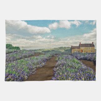 Lavendel fängt Geschirrtuch auf