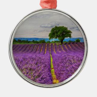 Lavendel-Feld landschaftlich, Frankreich Rundes Silberfarbenes Ornament