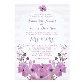 Lavendel-Frau u. Frau Lesbian Wedding Invitations 12,7 X 17,8 Cm Einladungskarte