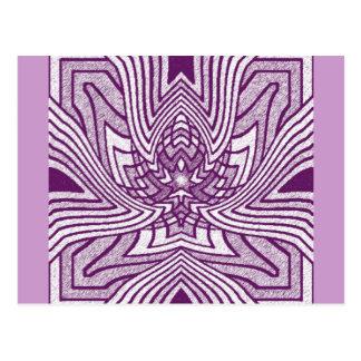 Lavendel-geometrische Lotus-Postkarte Postkarte