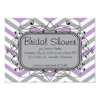 Lavendel-graue Zickzack Brautparty-Einladungen 12,7 X 17,8 Cm Einladungskarte