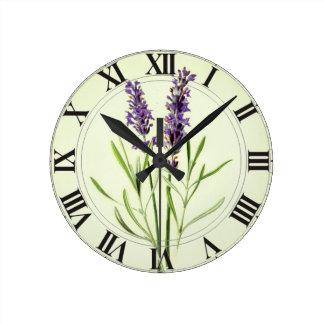 Lavendel grünes botanisches Clockface Runde Wanduhr