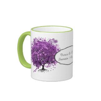 Lavendel-Herz-Blatt-Baum-Hochzeit Ringer Tasse