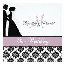 Lavendel-Hochzeits-Paar-Hochzeits-Einladung Quadratische 13,3 Cm Einladungskarte