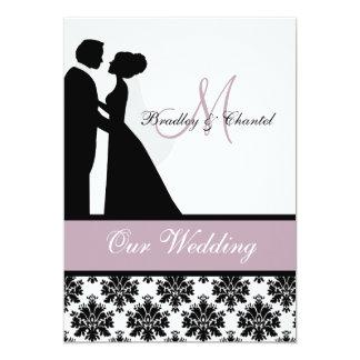 Lavendel-Hochzeits-Paar-Hochzeits-Einladung 12,7 X 17,8 Cm Einladungskarte
