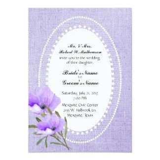 Lavendel-Leinwand und Blumen, die Einladung