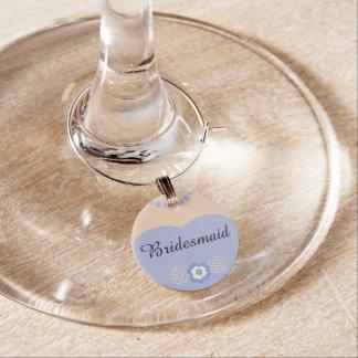 Lavendel-lila Brautjungfern-Hochzeit Weinglas Anhänger