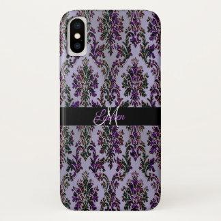 Lavendel-lila Glitzer-Damast iPhone X Kasten iPhone X Hülle