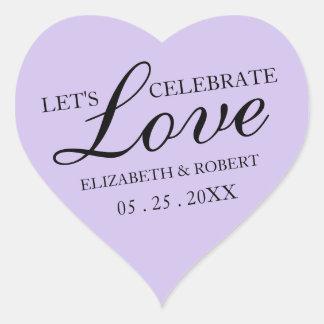 Lavendel-lila Hochzeits-Herz-Aufkleber-Einladungen Herz-Aufkleber