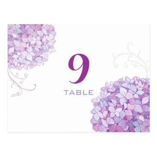 Lavendel, lila Hydrangea-Wedding Tischnummern Postkarte