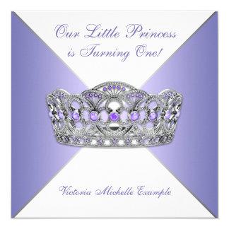 Lavendel-lila Prinzessin First Birthday Party Karte
