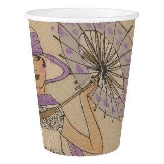 Lavendel-Prallplatten-Mädchen mit Sonnenschirm Pappbecher