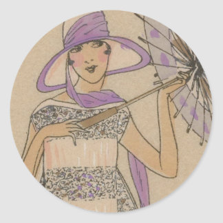 Lavendel-Prallplatten-Mädchen mit Sonnenschirm Runder Aufkleber