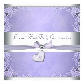 Lavendel-Quermädchen-lila erste Kommunion Karte