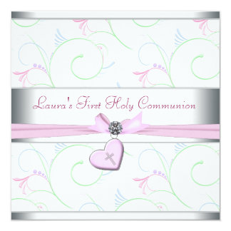 Lavendel-rosa Herz-Rosa-Kreuz-erste Kommunion Karte