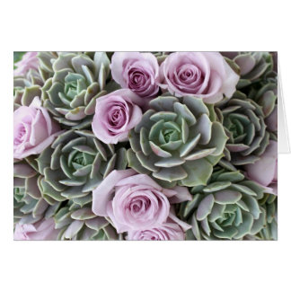 Lavendel Rosen- und echeveriaskarte Grußkarte