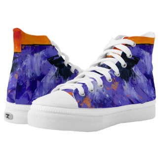 Lavendel-Spritzen-Turnschuhe Hoch-geschnittene Sneaker