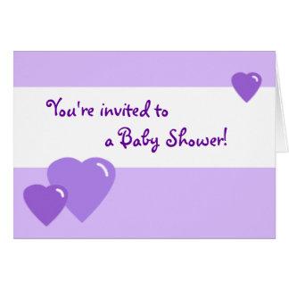 Lavendel-Süßigkeits-Herz-Duschen-Einladung Karte