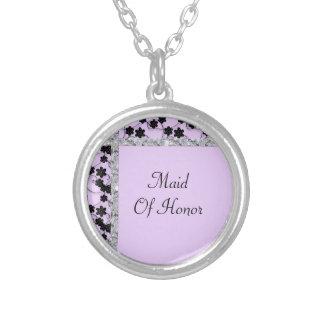 Lavendel u. schwarze versilberte kette