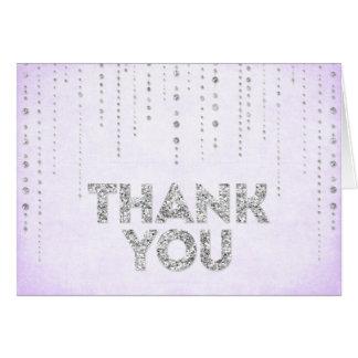 Lavendel-u. Silber-Glitter-Blick danken Ihnen zu Karte