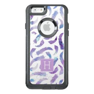 Lavendel und blaue Watercolor-Federn mit Monogramm OtterBox iPhone 6/6s Hülle