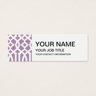 Lavendel und weißes modernes Gitter-Muster Mini Visitenkarte