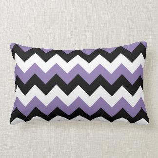 Lavendel-weißer schwarzer Zickzack Lendenkissen