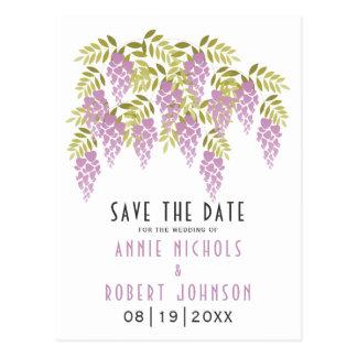 Lavendel Wisteriafrühling, der Save the Date Postkarte