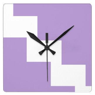 Lavendel-Zickzack Wand-Uhr Quadratische Wanduhr