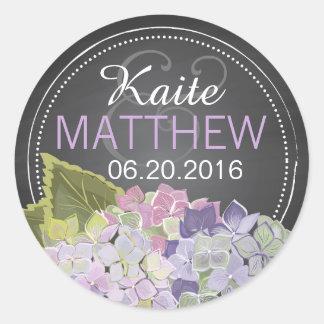 Lavendelhydrangea-Tafel-Hochzeits-Aufkleber Runder Aufkleber
