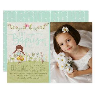 LDS TAUFE-FOTO-EINLADUNG | hübsches Blumenmädchen 12,7 X 17,8 Cm Einladungskarte