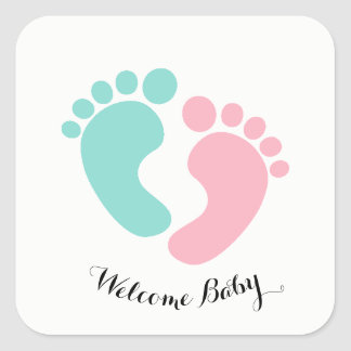Le bébé minuscule d'empreintes de pas de BÉBÉ et Sticker Carré